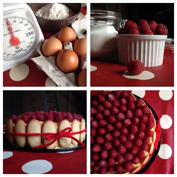 torta crema pasticcera e lamponi full