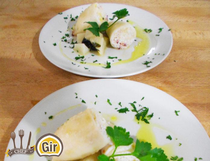 Calamari farciti di ricotta, cous cous e limone con topinambur trifolato